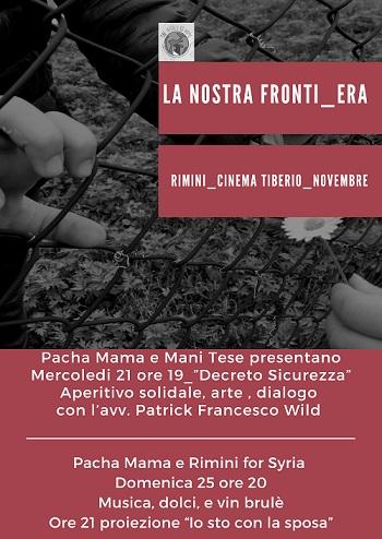 Pacha Mama e RImini for no profit al Cinema Tibero a novembre